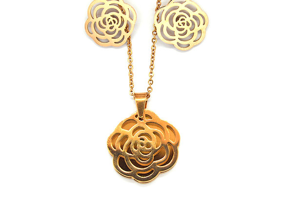 The Rose Earrings and Necklace Set