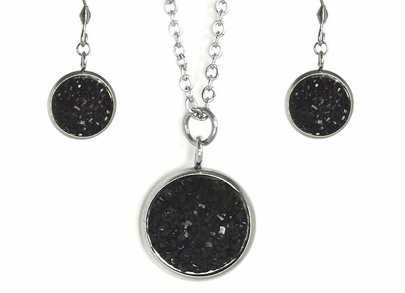 Black Astronomical Earring and Pendant Set