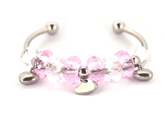 Baby Pink Beaded Charm Bracelet