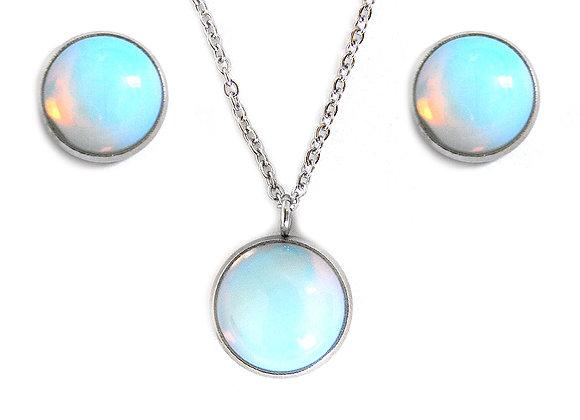 Opal Stone Studs and Pendant Set