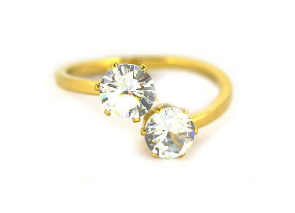 Double Crystal Glamour Ring