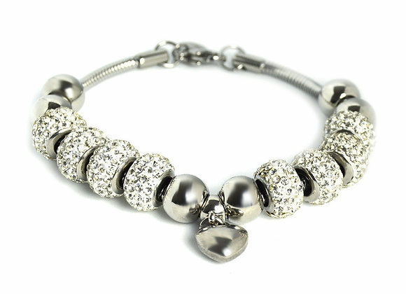 Crystal Studded Bead Bracelet with 3D Heart Charm