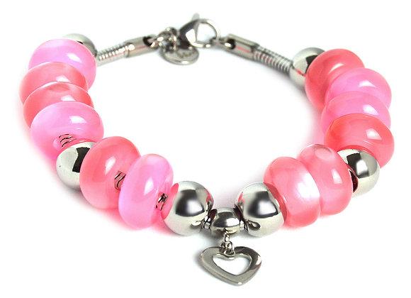 Iridescent Beaded Bracelet with Heart Charm
