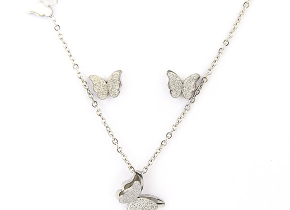 The Butterfly Earrings and Pendant Set