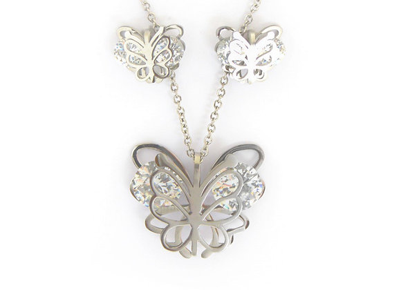 Enticing Butterfly Earrings and Necklace Set