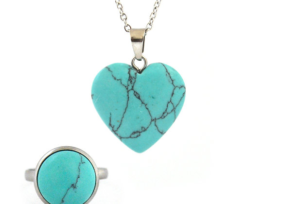 Turquoise Stone Pendant and Ring Set