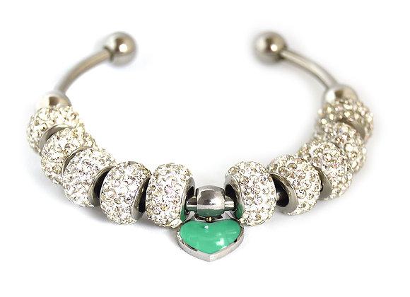 Heart Charm Crystal Studded Bracelet