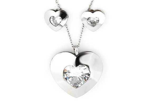 Dashing Heart Earrings and Pendant Set