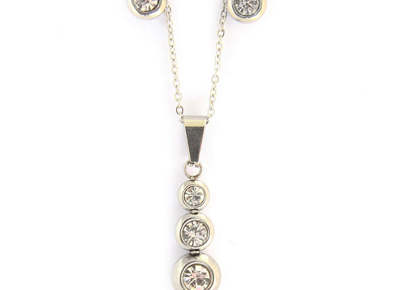 Tri-Circle Earrings and Necklace Set