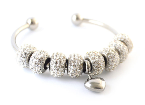 Studded Crystal Bangle with Charm