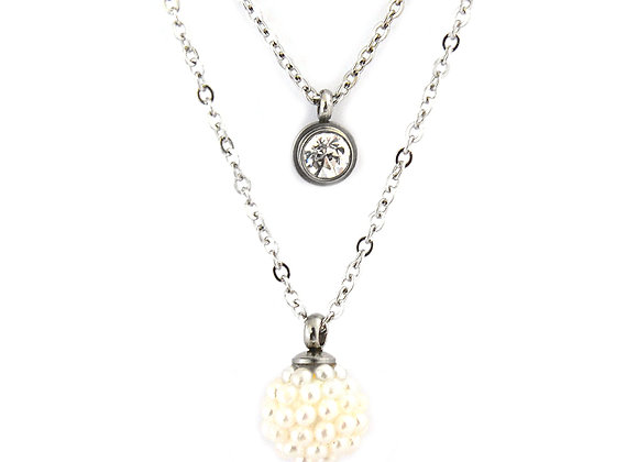 Double Layer Pearlesque Necklace