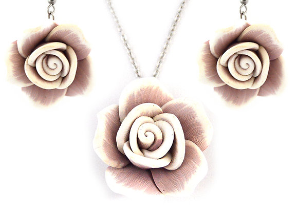 Clay Rose Earrings and Necklace Set