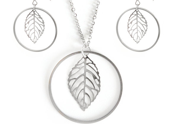 The Leafy Earrings and Necklace Set