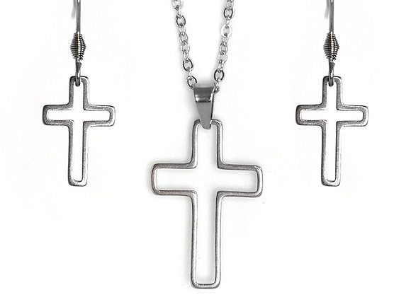 The Cross Earring and Pendant Set