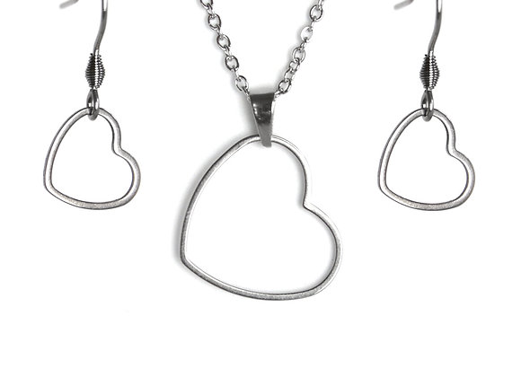 The Heart Earring and Pendant Set