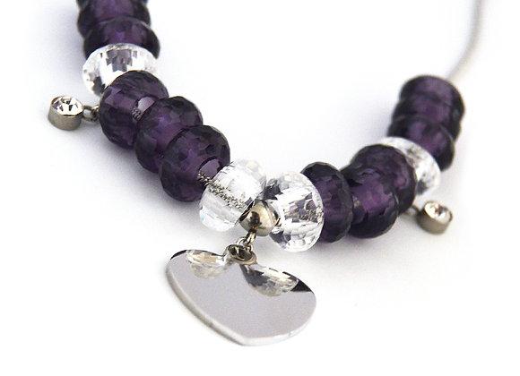 Chunky Bead Heart Charm Necklace