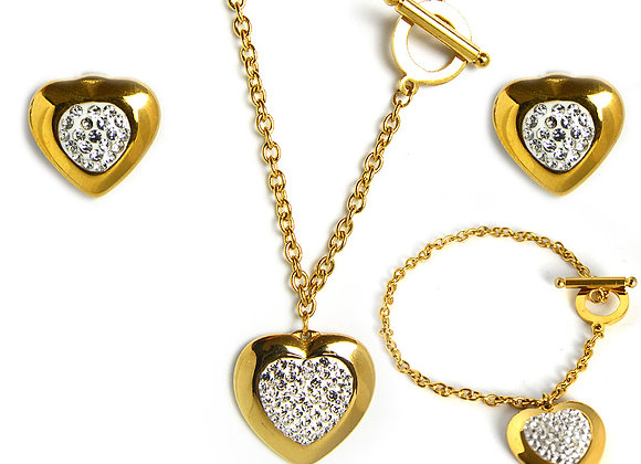 Studded Crystal Heart Set