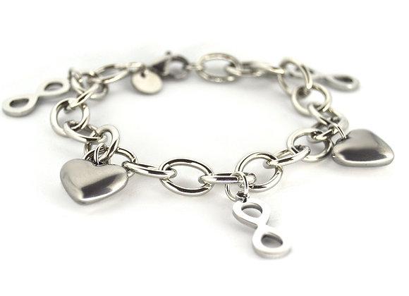 Infinity Heart Charm Bracelet