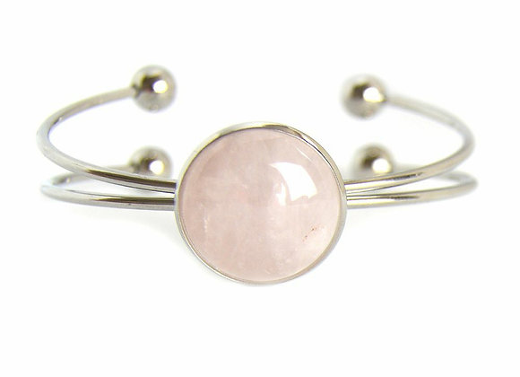 Rose Quartz Savage Bangle