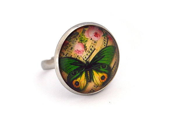 Printed Butterflies Ring