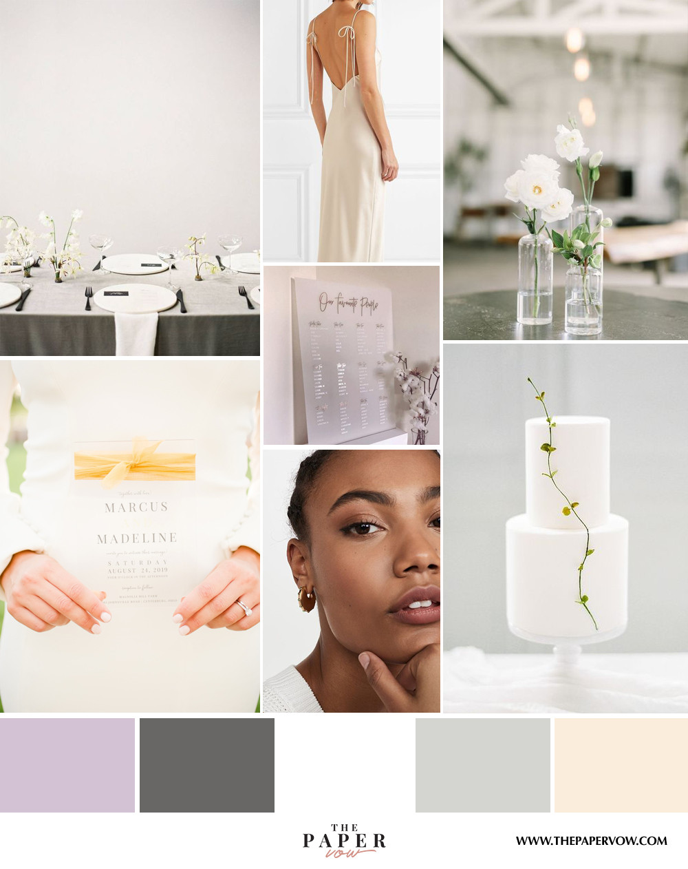 modern minimalist wedding inspiration with neutral colors and simple greenery