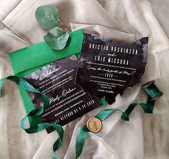 Black watercolor Ohio cutout wedding invitation with emerald green envelope
