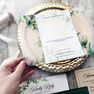 French garden wedding invitation with printed vellum wrap