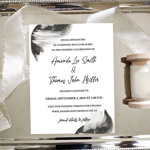 Black and White Watercolor Change the Date Card