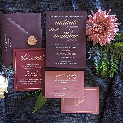 Moody Romantic Wedding Invitation Burgundy, Merlot, Blush Ombre with Rose Gold