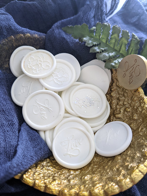 (6) Pearl White Mixed Wax Seals