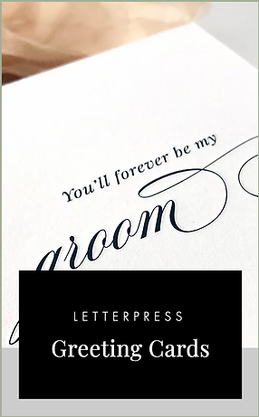 Letterpress wedding day greeting cards with love message