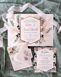 Pampas grass wedding invitation columbus ohio zoo theme