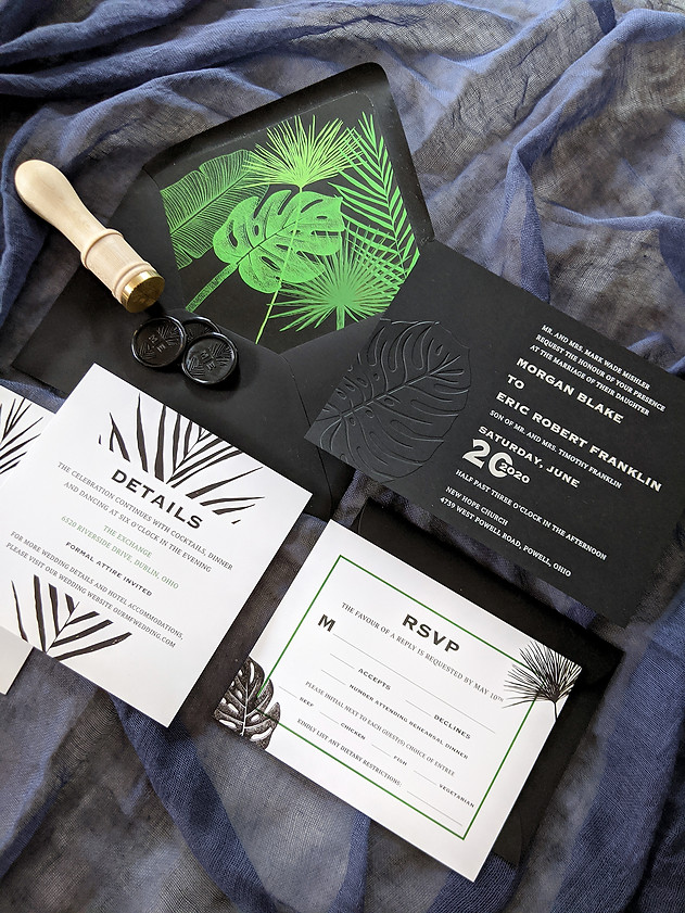 black-wedding-invitation-tropical-leaf