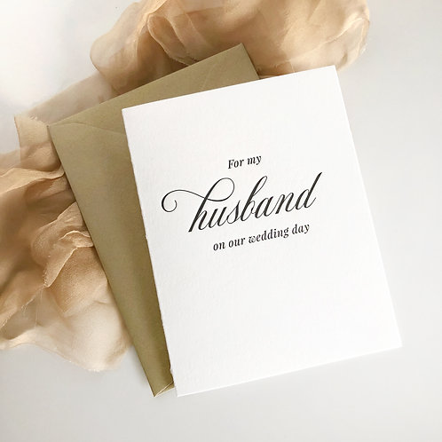 For My Husband on Our Wedding Day Card