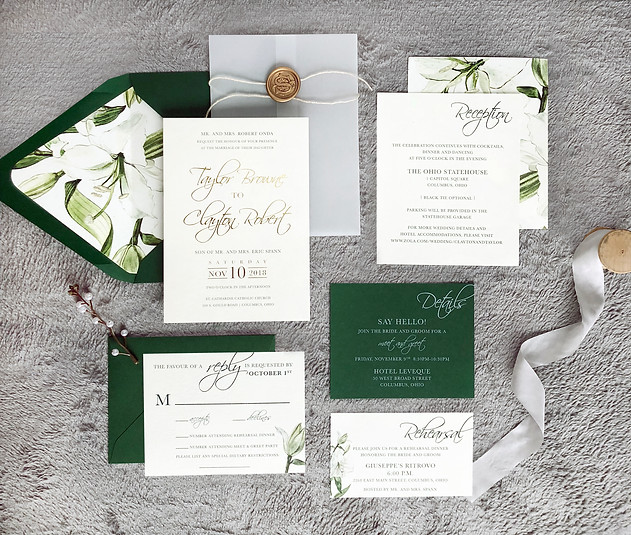 Botanical green floral wedding invitation with vellum wrap