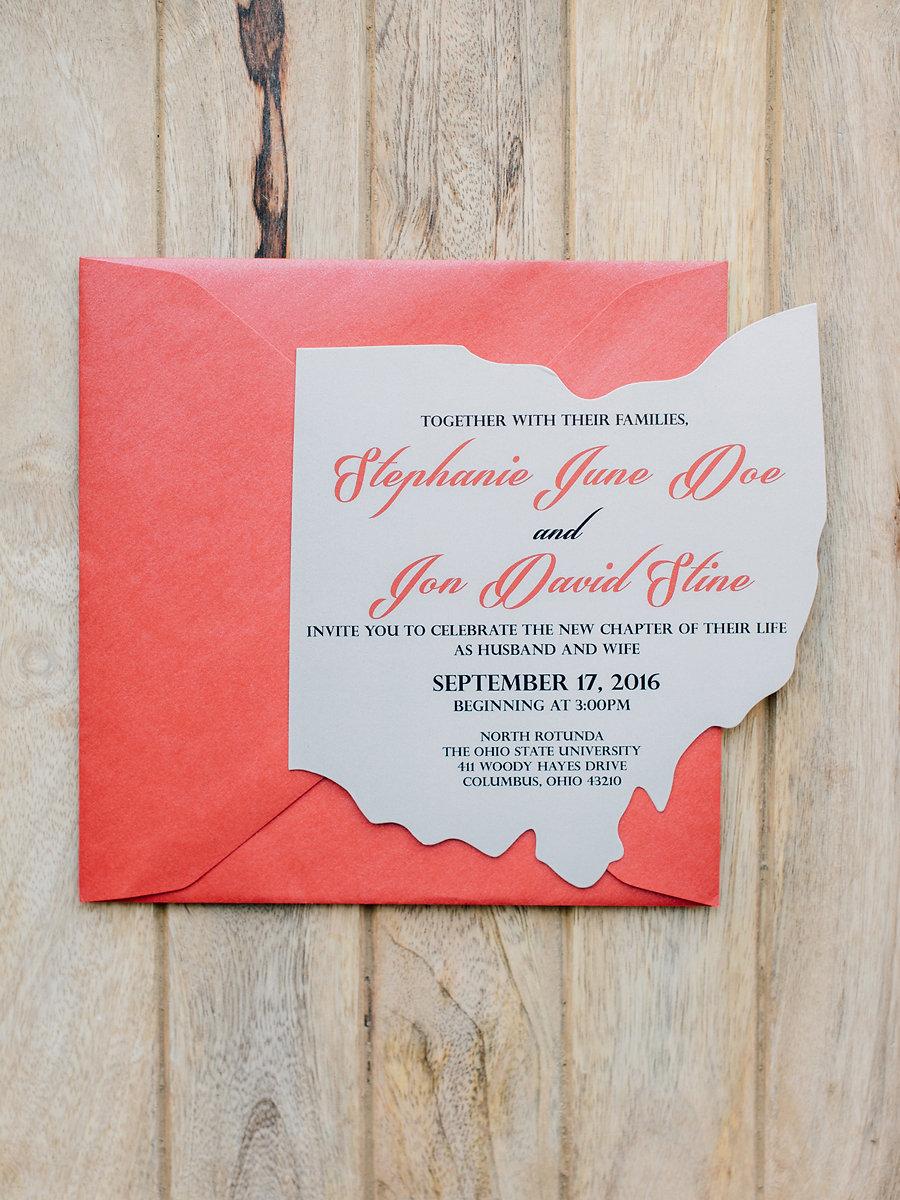 SCARLET AND GRAY OHIO WEDDING INVITATION