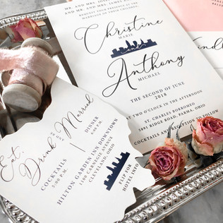 Ohio wedding invitation with Cleveland Skyline