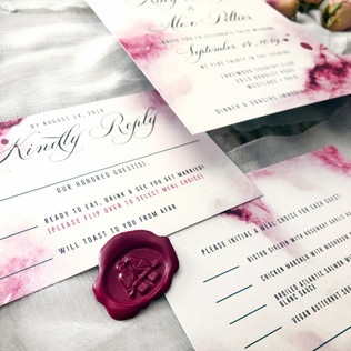 Burgundy watercolor wedding invitation
