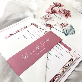 Watercolor Orchid floral wedding invitation in blush