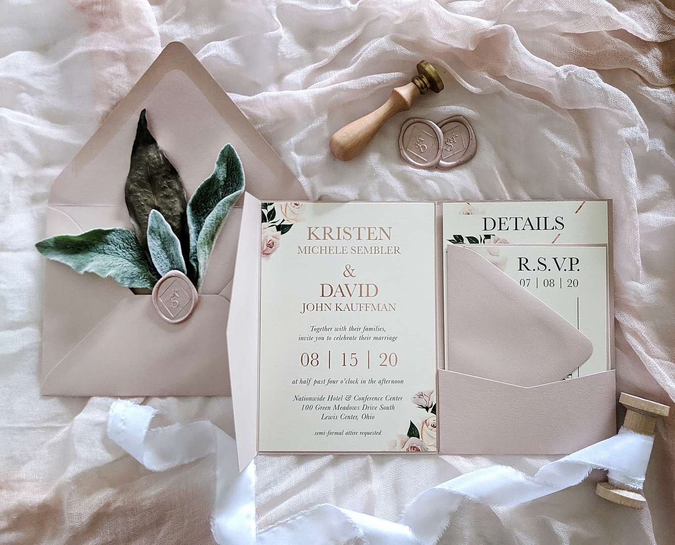 blush pocketfold wedding invitation with rose gold foiling