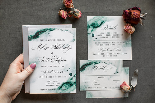 Moody Nature Green Watercolor Wedding Suite