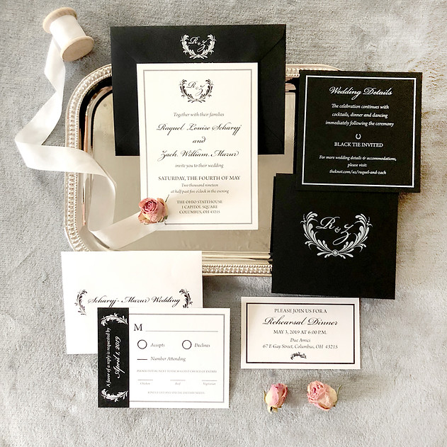 Black and white classic wedding invitation