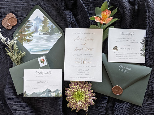 Serene Mountain Wedding Invitation with Nature Watercolors