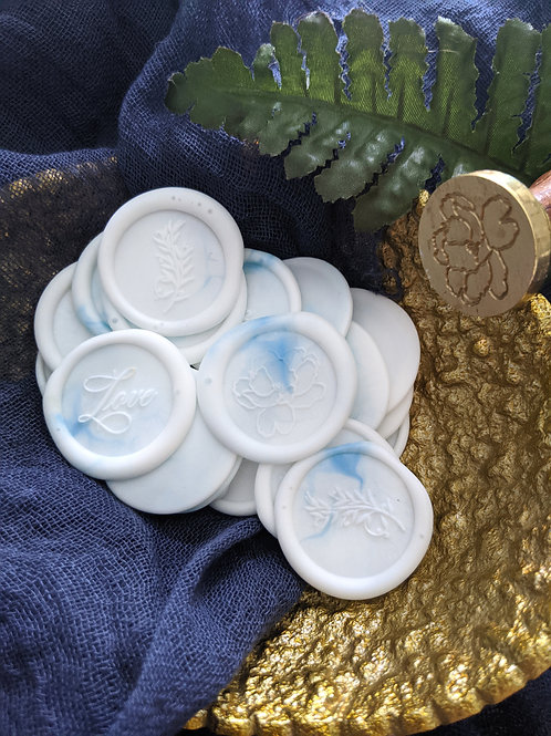 (7) White and Blue Wax Seals
