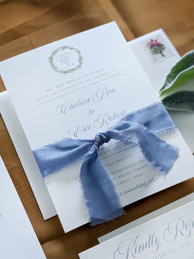 Simple yet classic wedding invitation with french blue silk ribbon