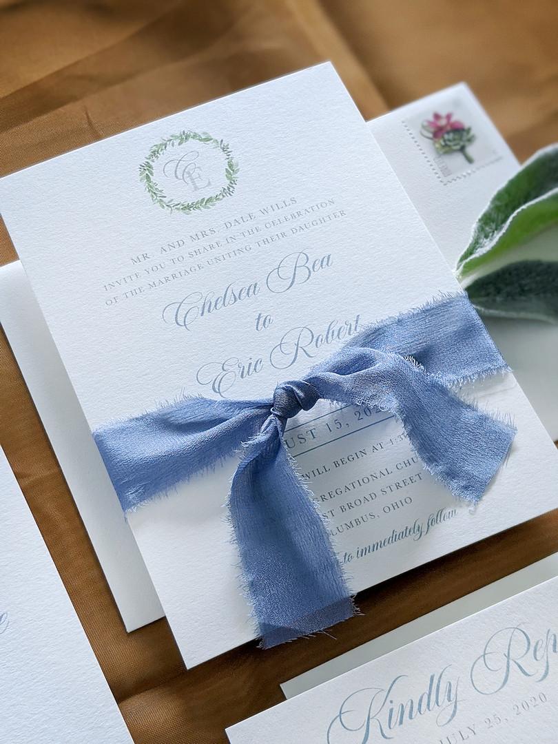 french blue wedding invitation