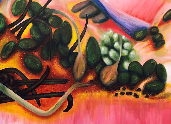 botanical flesh painting large Acrylic o