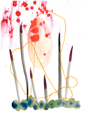 Botanical Mapping Watercolour mixed medi