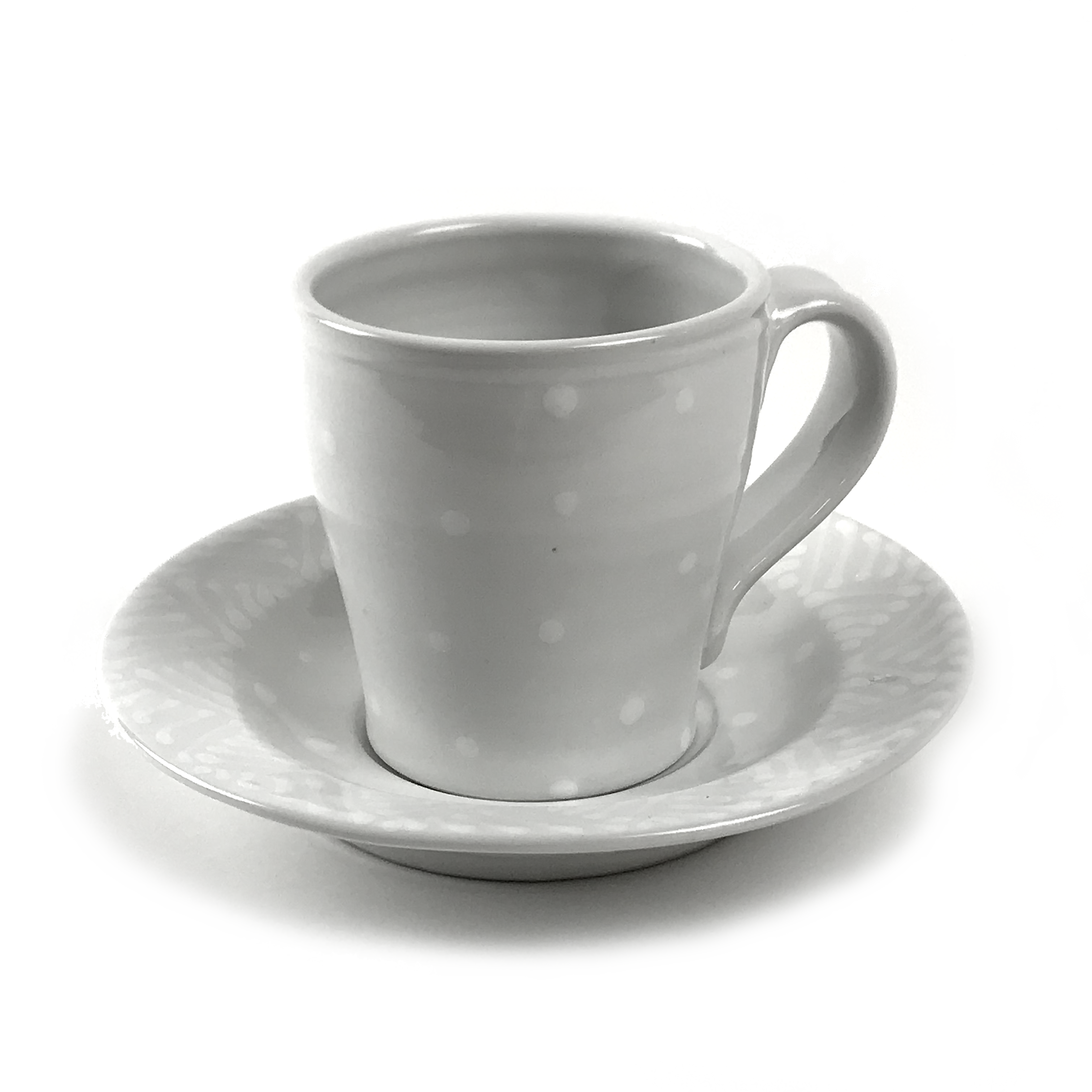 Latte Cup + Saucer in White on White | Mysite