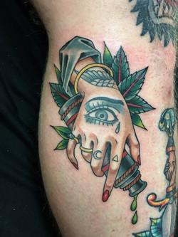 Hand Tattoo by Chris Astrologo